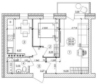 2-комнатная, улица Трехгорная. Краснофлотский, агентство, 40 кв.м.