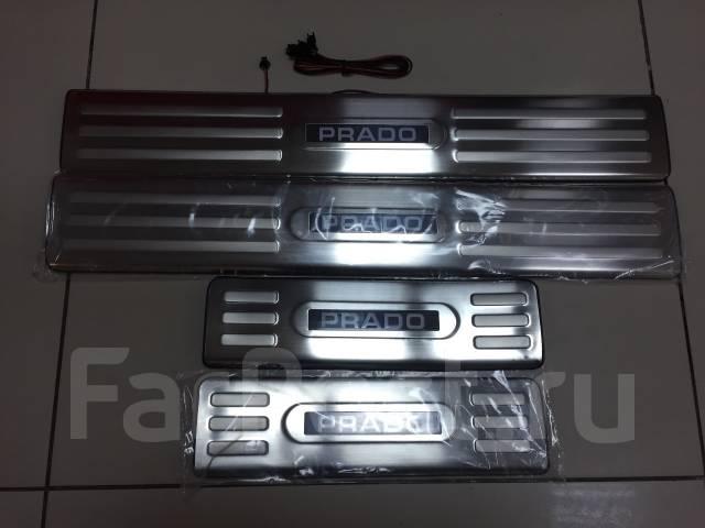 Накладка на порог. Toyota Land Cruiser Prado, GDJ150L, KDJ150L, TRJ150W, TRJ150, GDJ150W, GRJ150, GRJ150L, GRJ150W Двигатели: 1GDFTV, 1KDFTV, 2TRFE, 1...