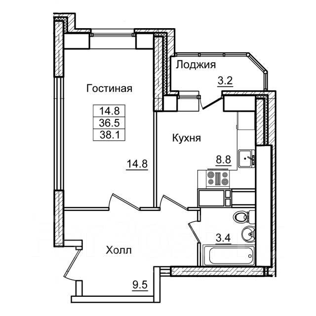 1-комнатная, улица Нейбута 17 кор. 2. 64, 71 микрорайоны, застройщик, 38 кв.м. План квартиры