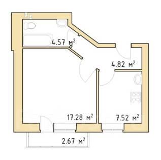 1-комнатная. Центральный, агентство, 34 кв.м.