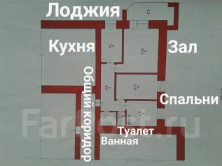 3-комнатная, улица Кирова, 2. 6 школа, частное лицо, 62 кв.м. План квартиры