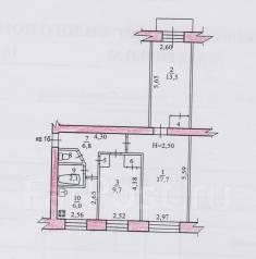3-комнатная, улица Стрельникова 11в. Краснофлотский, частное лицо, 58 кв.м. План квартиры