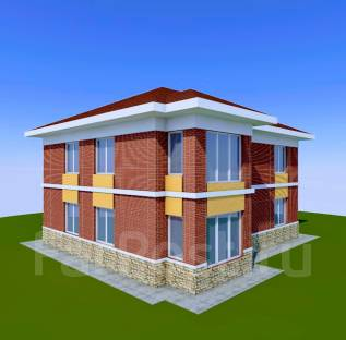 046 Z Проект двухэтажного дома в Улан-удэ. 100-200 кв. м., 2 этажа, 6 комнат, бетон