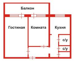 2-комнатная, улица Воронкова 4/2. агентство, 53 кв.м.