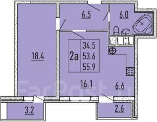 2-комнатная, Бородинская. ПМР, агентство, 56 кв.м.