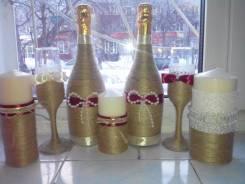 Оформление свадебных бокалов, свечей, шампанского