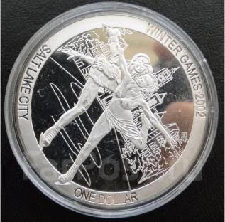 1 доллар.2002г. О-ва Кука. Олимпиада/Фигурное катание. Серебро. Proof.