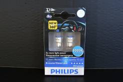 Philips LED лампы в габариты T10 X-treme Vision 8000K (2 шт. ). Chevrolet: Lacetti, Cobalt, Lanos, Astra, Celta, Montana, Caprice, Blazer, Epica, Capt...