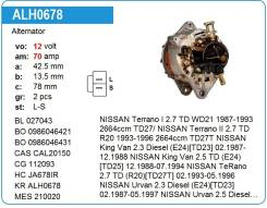 Генератор. Nissan: Terrano, Atlas, Mistral, Urvan, Terrano2, Homy, Caravan Двигатели: TD27, TD25, TD23, TD27T