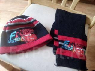 Шапка и шарф. Рост: 98-104, 104-110 см