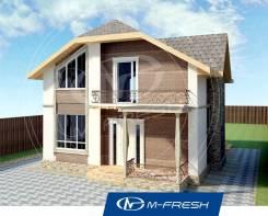 M-fresh Jamaica (Готовый проект дома с балконом и террасой! ). 100-200 кв. м., 2 этажа, 2 комнаты, бетон