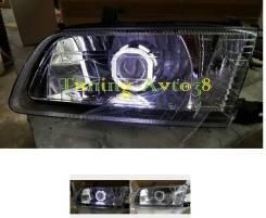 Фары передние хром ангельские глазки линзы ксенон тюнинг Nissan Sunny. Nissan Sunny, B15