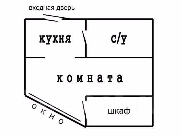 1-комнатная, проспект Партизанский 28а. Центр, 29кв.м. План квартиры