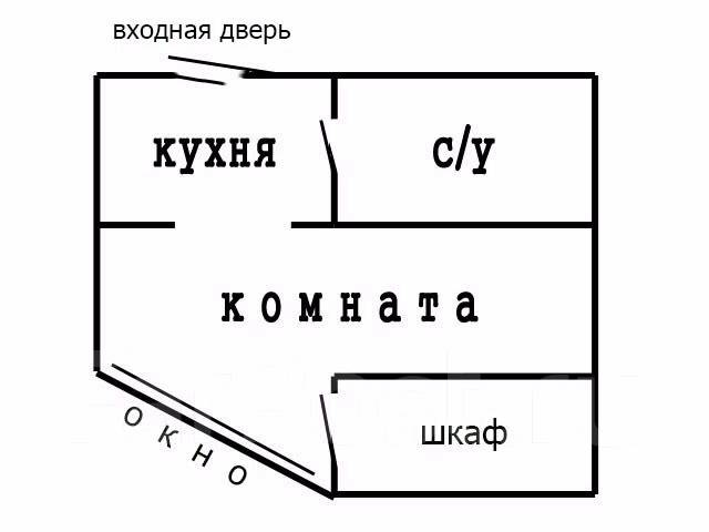1-комнатная, проспект Партизанский 28а. Центр, 29 кв.м. План квартиры