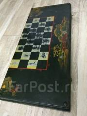 Старинные антикварные шахматы-нарды с фигурами из кости. Оригинал