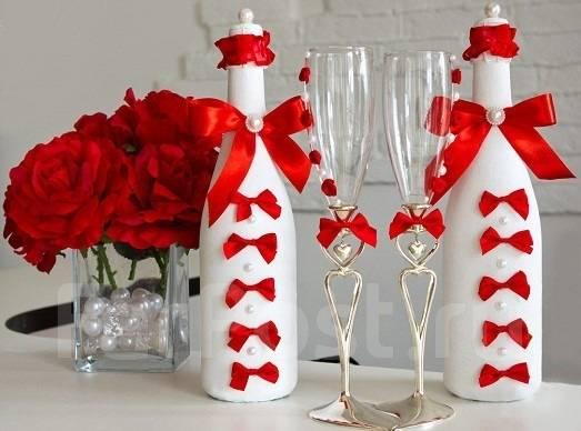 Украшение шампанского, ваз, фужеров на любой праздник. Под заказ