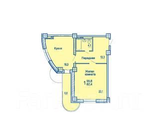 1-комнатная, улица Сабанеева 16в. Баляева, застройщик, 62 кв.м. План квартиры