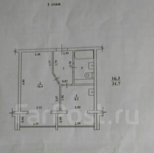 1-комнатная, улица Савченко 24/3. Северо-Восток, агентство, 31 кв.м. План квартиры