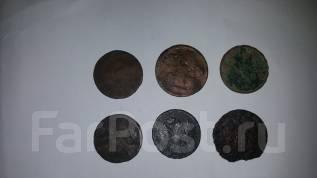 Лот монет. Денга 18 в. 6 шт