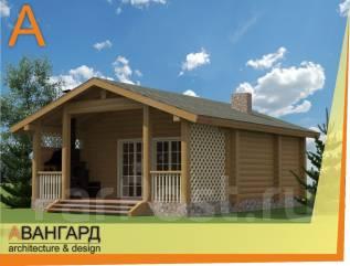 Проект Бани ШАЛЕ с террасой. до 100 кв. м., 1 этаж, 1 комната, дерево