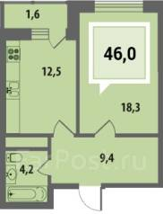 1-комнатная, улица Дальняя 8к1. Фестивальный, агентство, 46 кв.м.