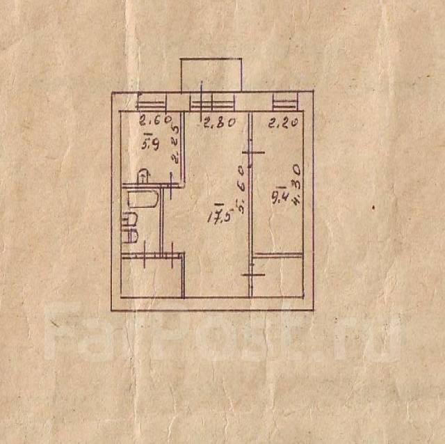 2-комнатная, ул.Молодежная. ГУМа, агентство, 42 кв.м. План квартиры