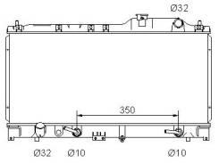 Радиатор охлаждения двигателя. Honda Vigor Honda Inspire, E-UA1, E-UA2 Honda 2.5TL Honda Saber, E-UA2, E-UA1 Двигатели: G25A3, G25A2, G25A5