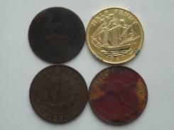 Старая Англия 1/2 пенни. Подборка из 4 монет. Без повторов!