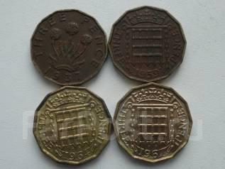 Старая Англия подборка из 4 монет номиналом 3 пенса. Без повторов!