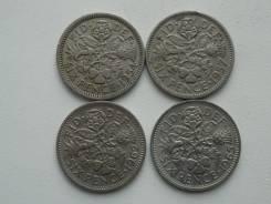 Старая Англия подборка из 4 монет номиналом 6 пенсов. Без повторов!