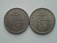 Старая Англия подборка из 2 монет номиналом шиллинг. Без повторов!