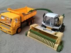 Большой Комбайн как настоящий и грузовик, собираем урожай! Новое