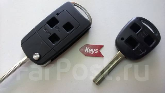 Выкидной ключ зажигания Лексус 3 кнопки. Lexus: IS300, RX330, RX350, IS200, LS400, GX470, RX400h, ES330, GS350, GS430, GS300, LS430, GS400, ES300, LX4...