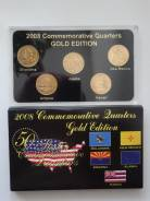 США набор квотеров (25 центов) 2008 г. 5 штук. Золотая серия.