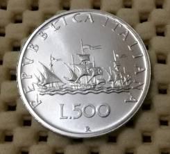 Италия 500 лир 1958г. UNC Ag800 Штемпельный блеск