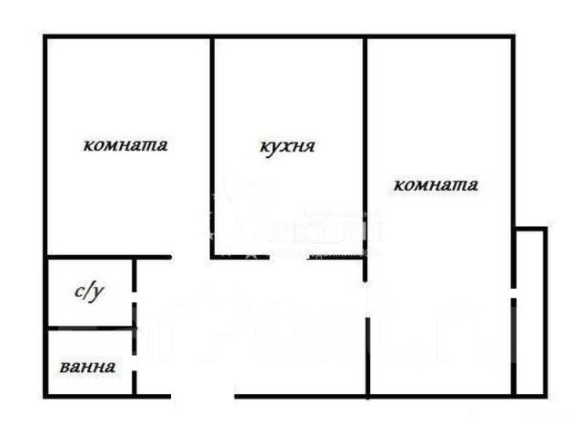2-комнатная, проспект 100-летия Владивостока 14. Столетие, агентство, 46 кв.м. План квартиры