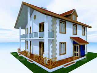 046 Z Проект двухэтажного дома в Чайковском. 100-200 кв. м., 2 этажа, 7 комнат, бетон