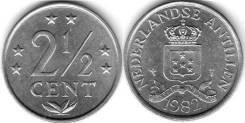 Антильские острова 2 1/2 цента 1982 года (иностранные монеты)