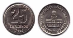 Аргентина 25 сентаво 1993 год (иностранные монеты)