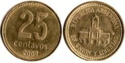 Аргентина 25 сентаво 2009 год (иностранные монеты)