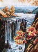 "Картина-вышивка ""Осенний водопад"". Под заказ"