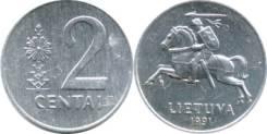 Литва 2 сента 1991 (иностранные монеты)