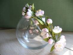 Ободок из цветов ручной работы (яблоневый цвет)