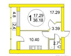 1-комнатная, улица Нансена 13. Балтийский, агентство, 37 кв.м.