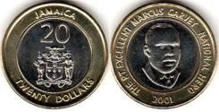 Ямайка 20 долларов 2001 (иностранные монеты)
