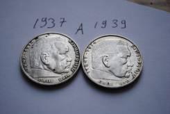 2 монеты по 2 марки Гинденбург серебро 1937 и 1939 гг