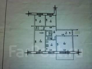 4-комнатная, ул.Большая 89. Железнодорожный, агентство, 82 кв.м. План квартиры
