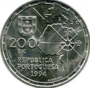 200 эскудо 1994 год. Португалия. Парусник. 500-летие разделения.