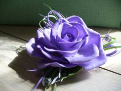 Фиолетовая роза, заколка-брошь, ручная работа