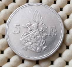 Люксембург 5 франков 1929г. Ag640
